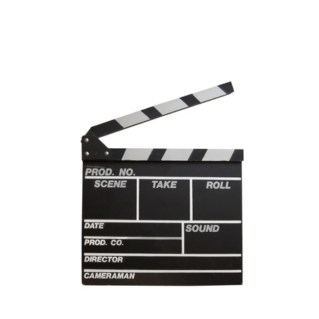 film director: Black clapper board isolated on white background
