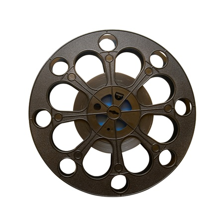 16 mm motion picture film reel isolated on white photo