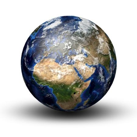 3D-Bild des Planeten Erde mit Schatten auf weißem isoliert. Blick nach Europa und Afrika.