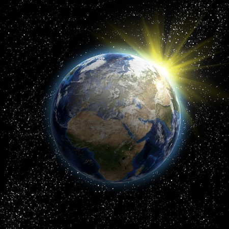Sun, stars and planet Earth in the space. 3D image. Stock Photo - 13549527