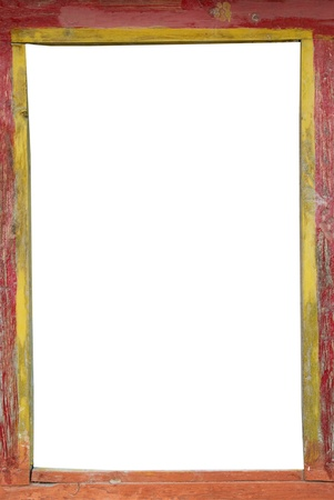 Tibetan empty wooden frame with isolated white space photo
