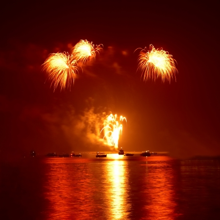fire works: Red colorful holiday fireworks on the black sky background