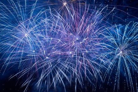 Blue colorful holiday fireworks on the black sky background Stock Photo - 14664166