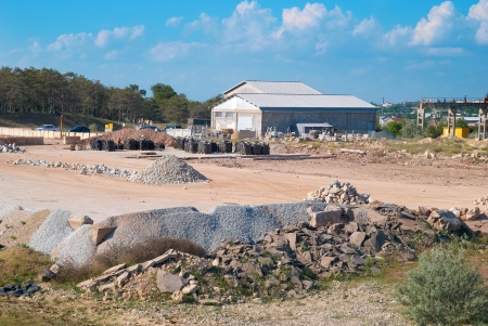 Stone and sand industry  Factory with constructions and warehouse  photo