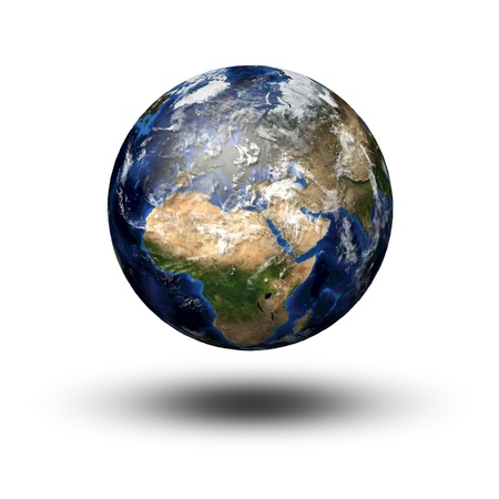 3D image of planet Earth flying above the shadow  View to Europe and Africa photo