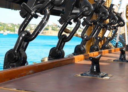 Black metal rigging and ropes on a deck of sail ship Stock Photo - 14800820