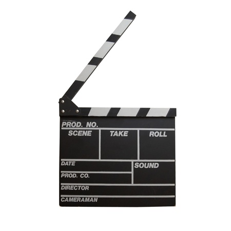 Black clapper board isolated on white background Stock Photo - 15088809