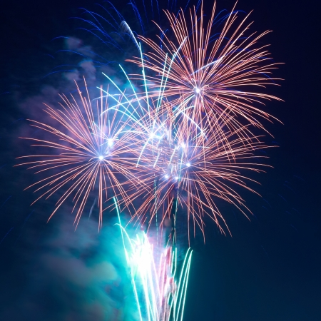 Colorful fireworks on the black sky background 스톡 콘텐츠