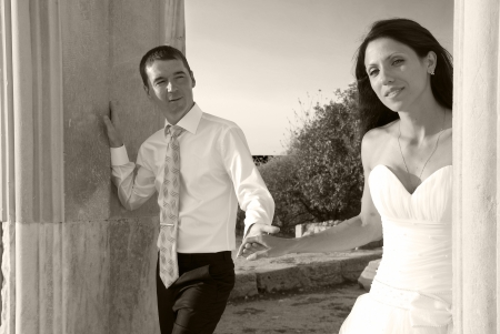 Beautiful wedding couple- bride and groom. Just married. Black and white, sepia photo