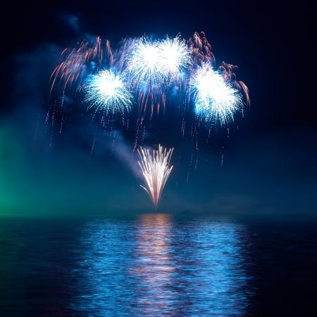 fuegos artificiales: Coloridos fuegos artificiales en el cielo de fondo negro