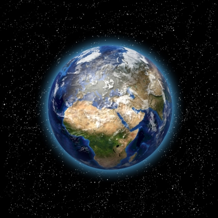 Stars and planet Earth in the space  3D image  photo