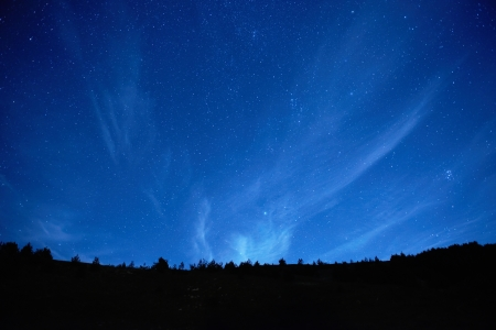 Blue dark night sky with many stars  Space background