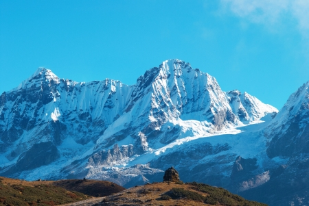 himalayas: Top of High mountains, covered by snow  Kangchenjunga, India