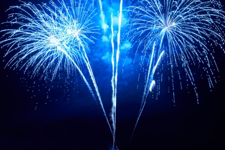 Blue colorful fireworks on the black sky background Stock Photo - 16842575