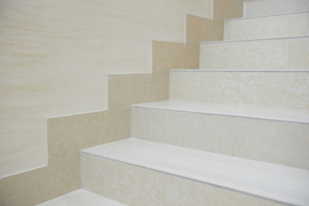 White marble staircase in the modern house photo