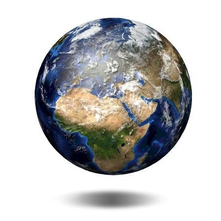 paz mundial: Imagen 3D del planeta Tierra. Ver a Europa y África Foto de archivo