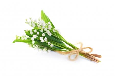 Ramo de flores blancas lirios del valle aislado en fondo blanco
