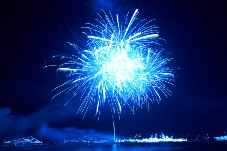 Blue colorful fireworks on the black sky background photo