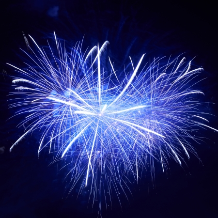 Heart shape of blue colorful fireworks on the black sky background photo