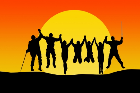 large family: Silhouette of jumping friends in sunset against big yellow sun