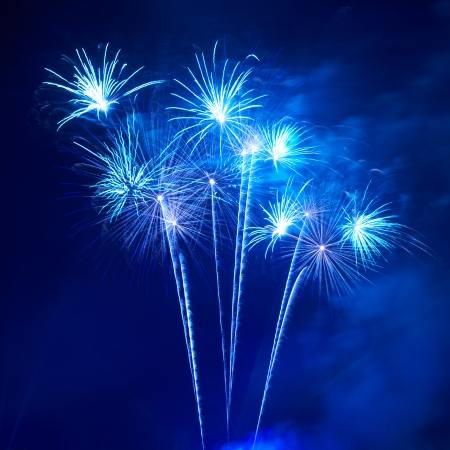 Blue colorful fireworks on the black sky background Reklamní fotografie