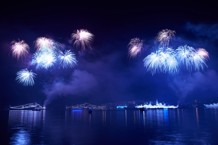 fire works: Blue colorful fireworks on the black sky