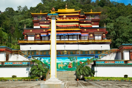 tibetan house: Traditional indian buddhistic monastery  In India, state Sikkim