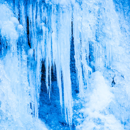 Frozen waterfall of blue icicles on the rock photo