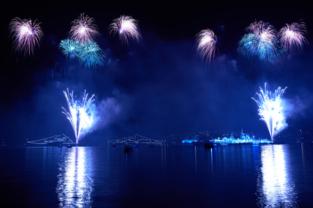 Blue colorful fireworks on the black sky  photo