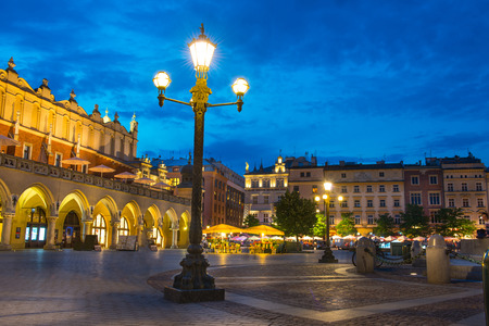 old town square: Old town square in Krakow, Poland Stock Photo
