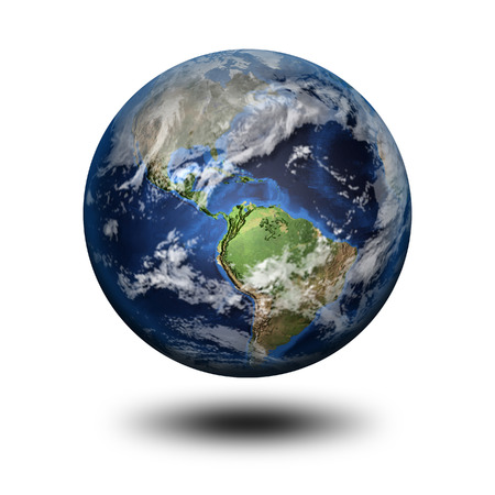 world ball: 3D image of planet Earth with shadow. View to North and Latin America. Elements of this image furnished by NASA.