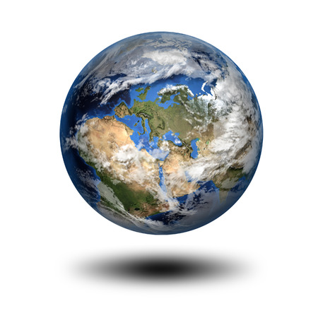 Isolated 3D image of planet Earth with shadow. View to Europe and Africa. photo