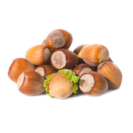 hard core: Pile of filbert nuts with green leaf isolated on white Stock Photo