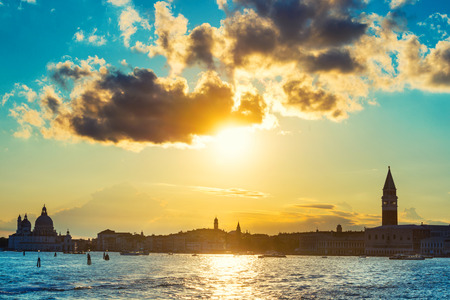 saint mark square: Sunset in Venice. View from the sea to Saint Mark square