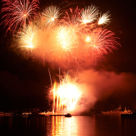 fire works: Red colorful fireworks on the black sky background