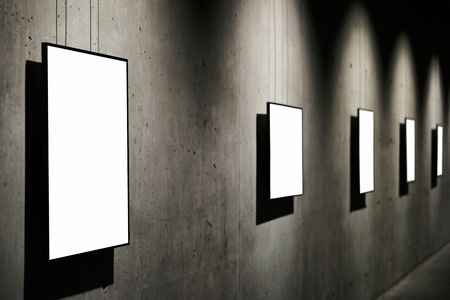 exhibition: Empty white isolated frame on the wall