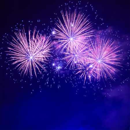 red and blue: Blue colorful fireworks on the black sky background Stock Photo