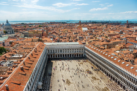 st mark's square: Air view to famous San Marco square in Venice, Italy. Piazza with many people