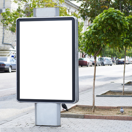lightbox: Vertical blank billboard on the city street