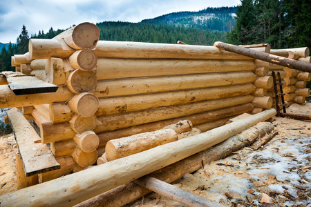 Country wooden house. Construction Stock Photo