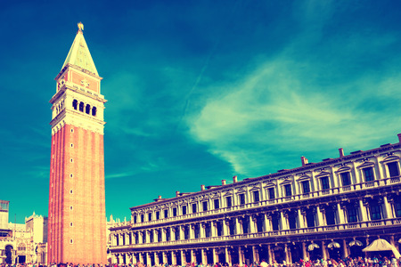 the campanile: Tourists on San Marco square with Campanile and Doge Palace. Venice, Italy.