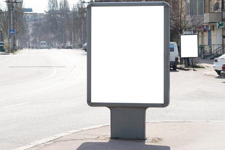 blank billboard: Vertical blank billboard white isolated on the city street Stock Photo