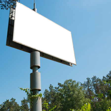 advertising space: Blank billboard with empty space for advertising isolated on white. Square composition Stock Photo