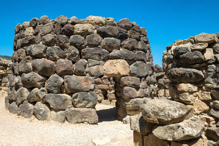 prehistorical: Ruins of ancient city. Nuraghe culture, Sardinia, Italy Stock Photo