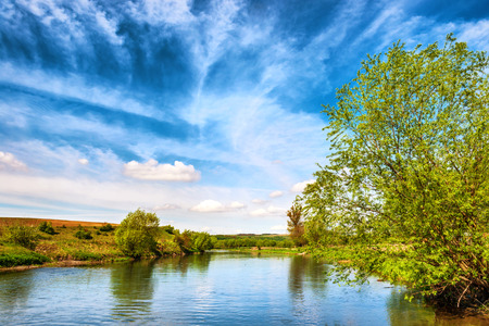 river banks: View to river banks with green trees and blue cloudy sky Stock Photo