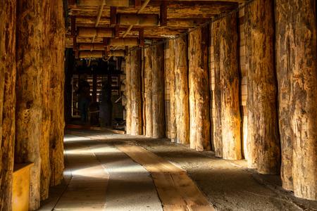 Ondergrondse gang in Wieliczka Salt Mine Stockfoto
