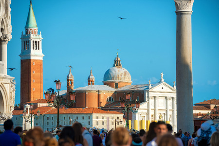 famous people: People on famous San Marco square in Venice, Italy