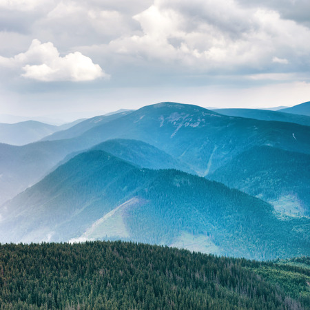 blue green landscape: Blue mountains covered with green forest. Landscape view of peaks ridge
