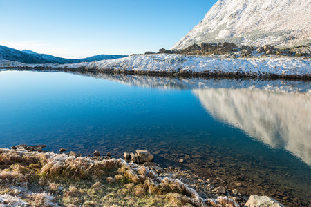 winter sunrise: Beautiful blue lake in the mountains, morning sunrise time. Landscape with snow and frozed nature