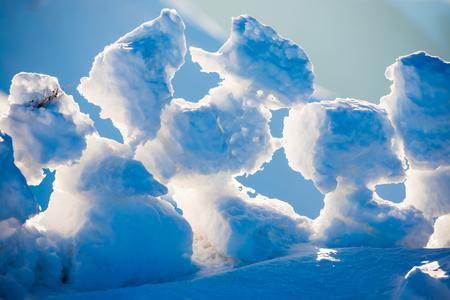 ice blocks: View on ice blocks at sunset in winter